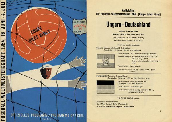 World Cup 1954. Programm Germany v Hungary