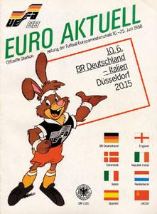 Europameisterschaft 1988 in Deutschland. Programm Deutschland - Italien. 10.6.1988 in Düsseldorf.