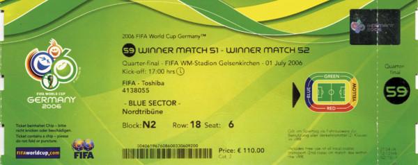 England - Portugal 01.07.2006, Eintrittskarte WM2006