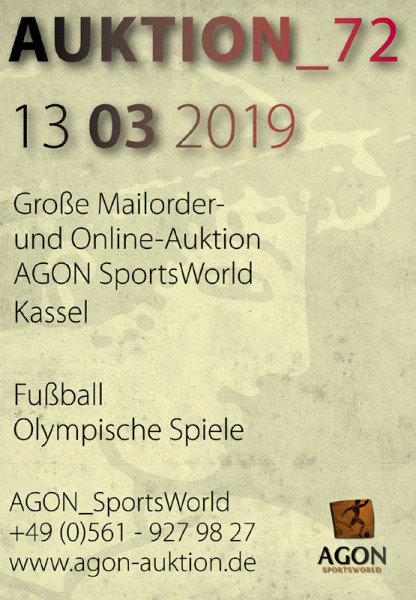72. AGON Auktion.: Auktions-Katalog: SportMemorabilia OnLive in Kassel