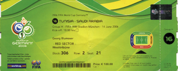 Tunesien - Saudi Arabien 14.06.2006, Eintrittskarte WM2006
