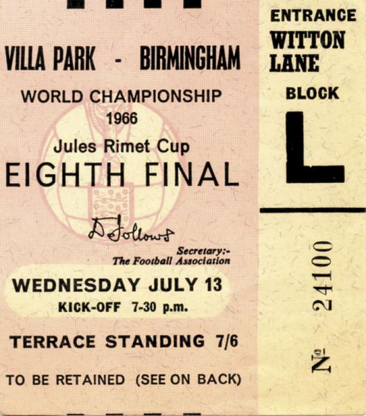 Spanien - Argentinien 13.07.1966, Eintrittskarte WM1966