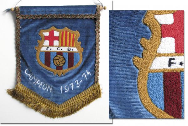 "Dekorativer bestickter Spielwimpel ""Campeon 1973-7, Barcelona,FC-Spielwimpel"