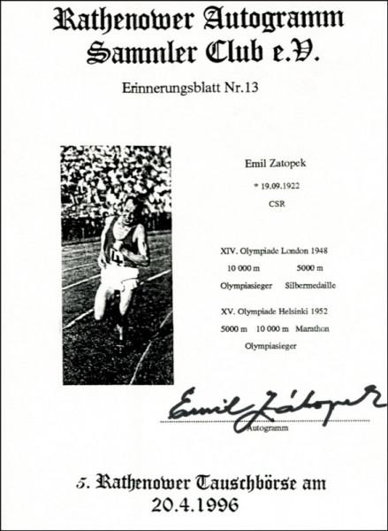 Zátopek, Emil: Autograph Olympia athletics 1948+52. Emil Zatopek