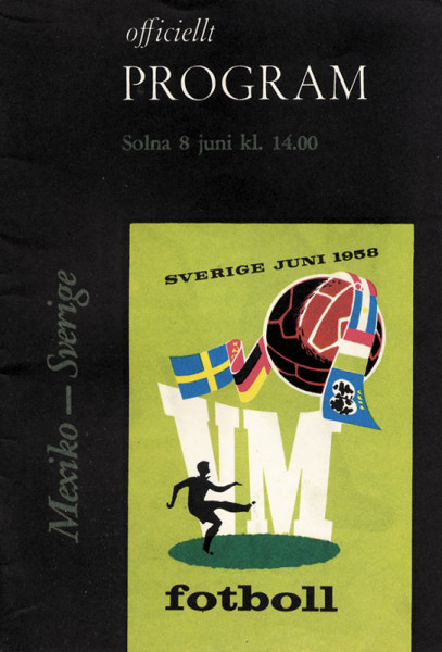 Mexico - Sverige, Solna 8.6.1958. Officiellt Program.