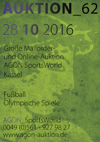 62. AGON Auktion: Auktions-Katalog: SportMemorabilia Live in Kassel