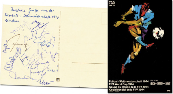 Weltmeister 1974: World Cup 1974. Autographed Postcard Germany