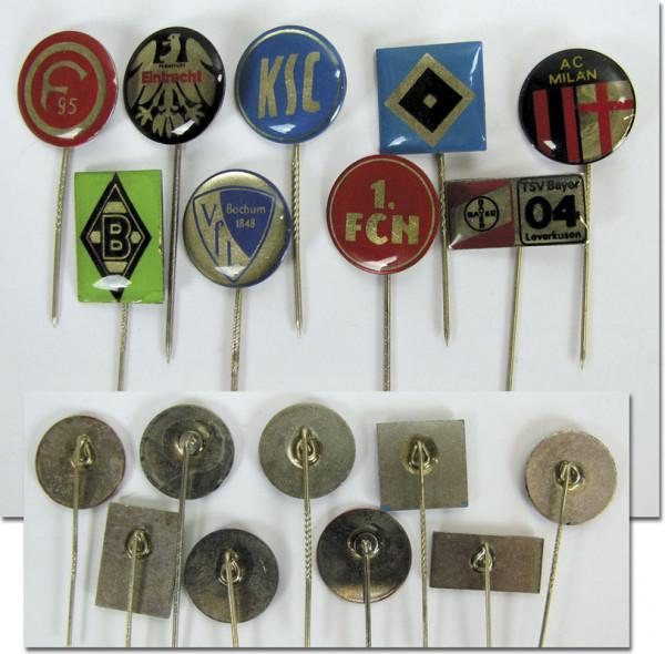 Deutsche und Internationale Vereine ca. 1980er, 9 Vereinspins 1980er
