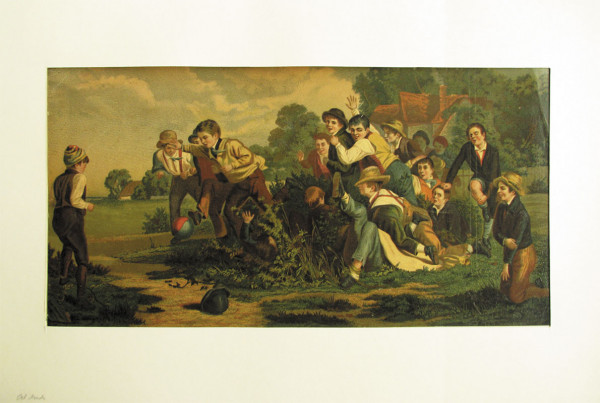 Oil Print Ball playing Children 1900