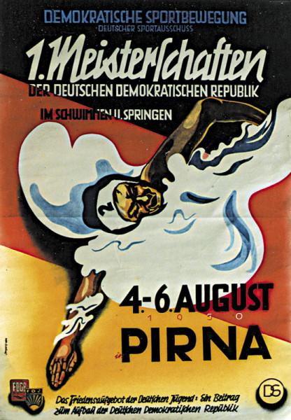 1.Meisterschaften der DDR, Schwimmen und Springen, Schwimmen - Plakat