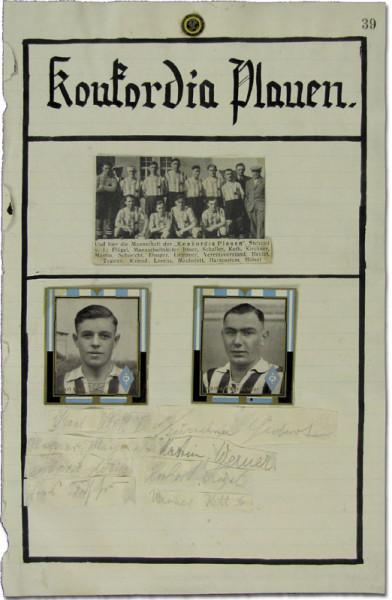 Plauen,Koncordia - 1939: Blancobelege mit 11 original Signaturen der Spiele
