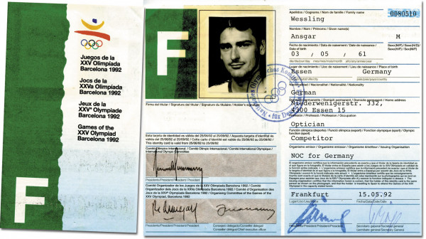 Olympic Games 1992 ID-Card Bronzemedal winner