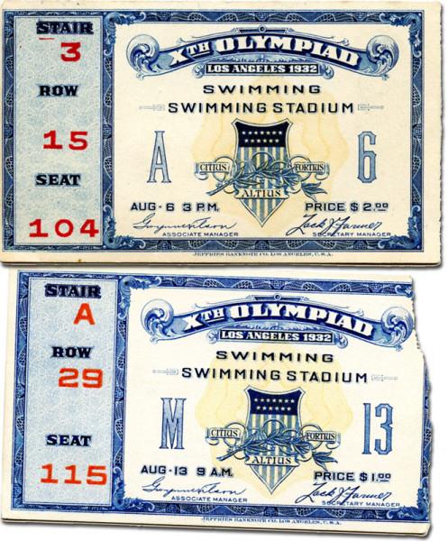 Schwimmen 6.8. und 13.8.1932, Eintrittskarte OSS1932